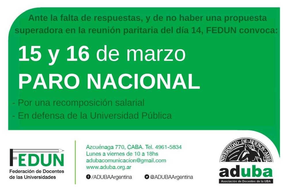 Paro Nacional los días 15 y 16 de Marzo