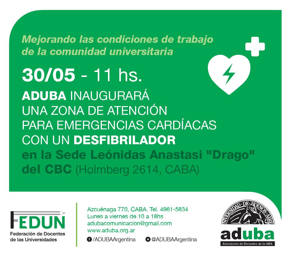 ADUBA inaugurará una zona de atención para emergencias cardíacas