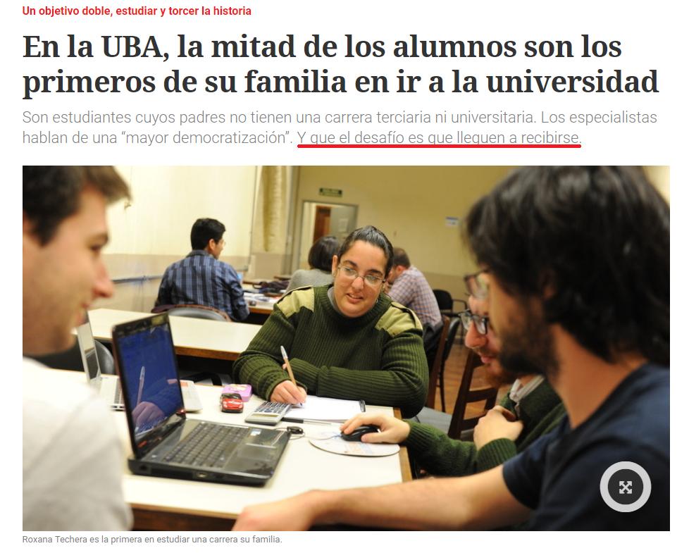 La mitad de los alumnos de la UBA son primera generación de universitarios