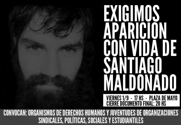 Hoy, 30 de agosto, Día Internacional de las Víctimas de Desapariciones Forzadas, más que nunca preguntamos ¿Dónde está Santiago Maldonado?