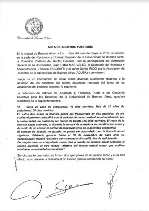 ACUERDO PARITARIO ENTRE ADUBA Y LA UBA POR EL RÉGIMEN DE LICENCIAS