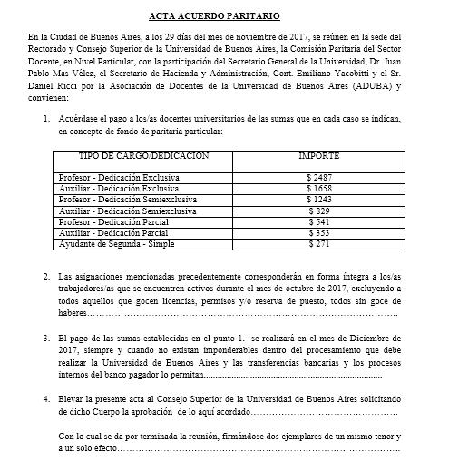 AUMENTO DEL 26 % DE LA SUMA FIJA DE PARITARIAS DE FIN DE AÑO PARA TODOS LOS DOCENTES DE LA UBA