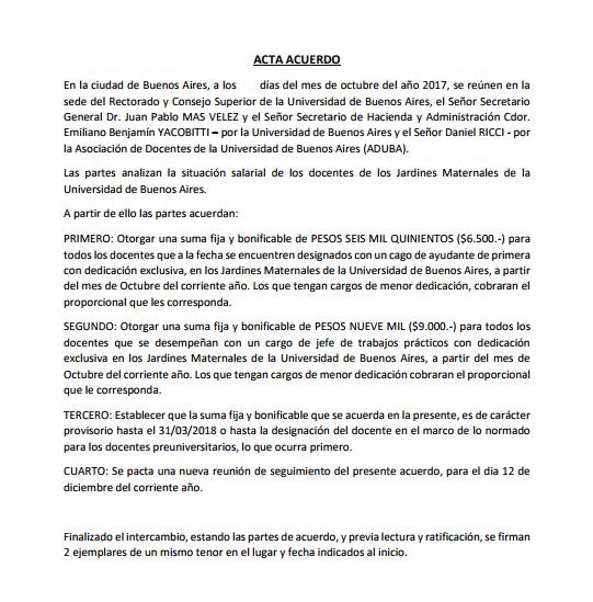 COBRO DE LA PARITARIA PARA DOCENTES DE LOS JARDINES MATERNALES