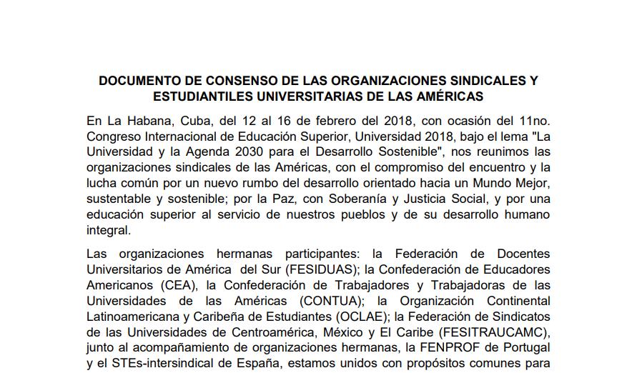 DOCUMENTO CONJUNTO DE LAS ORGANIZACIONES GREMIALES HACIA LA CRES2018