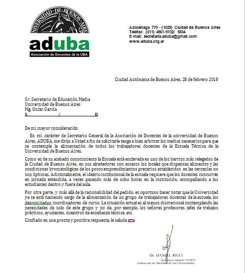 PEDIDO DE ALIMENTACIÓN PARA LOS DOCENTES DE LA ESCUELA TÉCNICA DE LA UBA