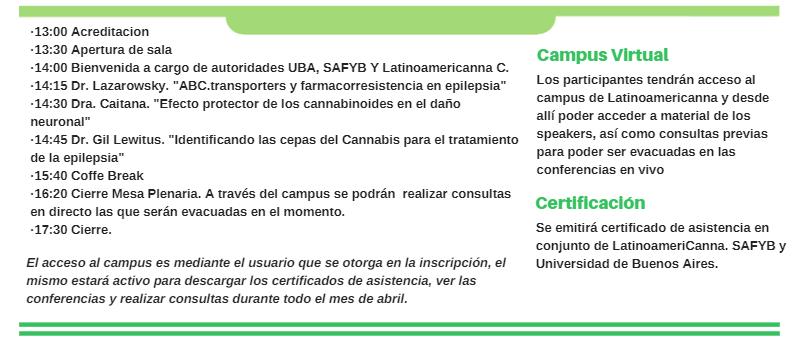 CONFERENCIA SOBRE EPILEPSIA, CANNABIS MEDICINAL Y SISTEMA ENDOCANNABINOIDE