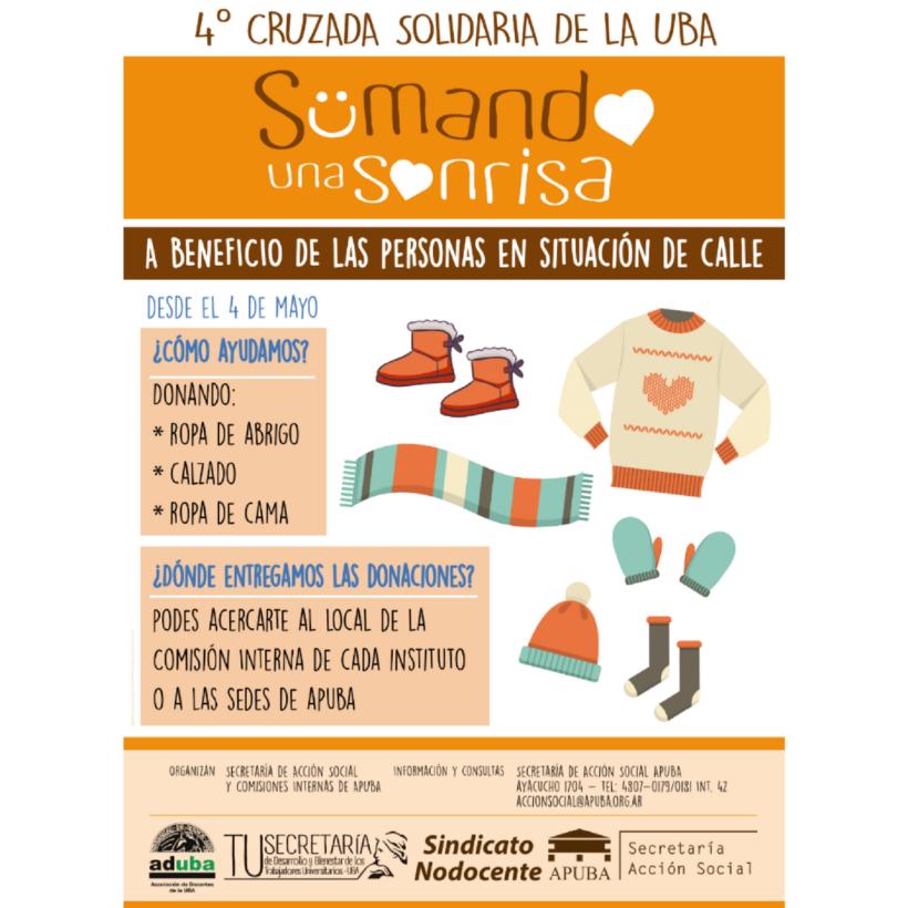 INVITAMOS A PARTICIPAR DE LA 4º CRUZADA SOLIDARIA DE LA UBA