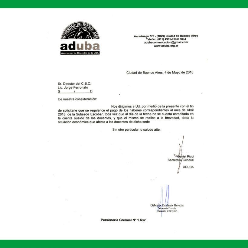 RECLAMAMOS EL PAGO DEL SUELDO A LOS DOCENTES DE LA SEDE ESCOBAR DEL CBC