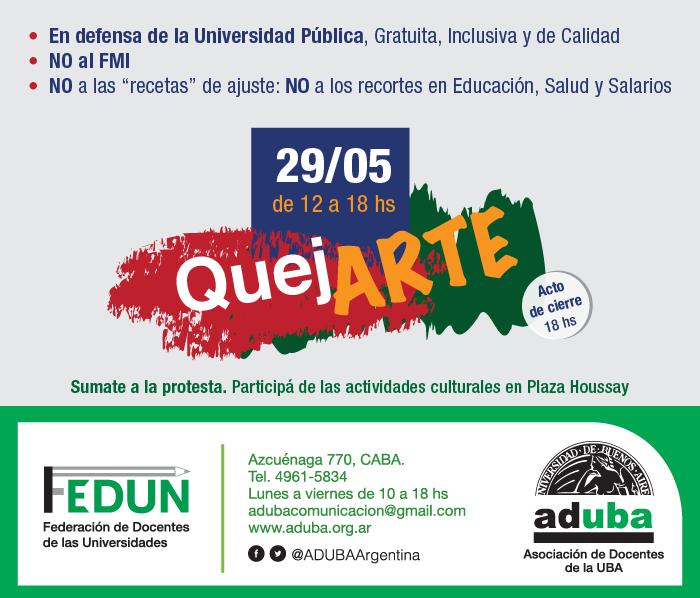 """JORNADA DE PROTESTA """"QuejArte"""", EN PLAZA HOUSSAY(29/05)"""