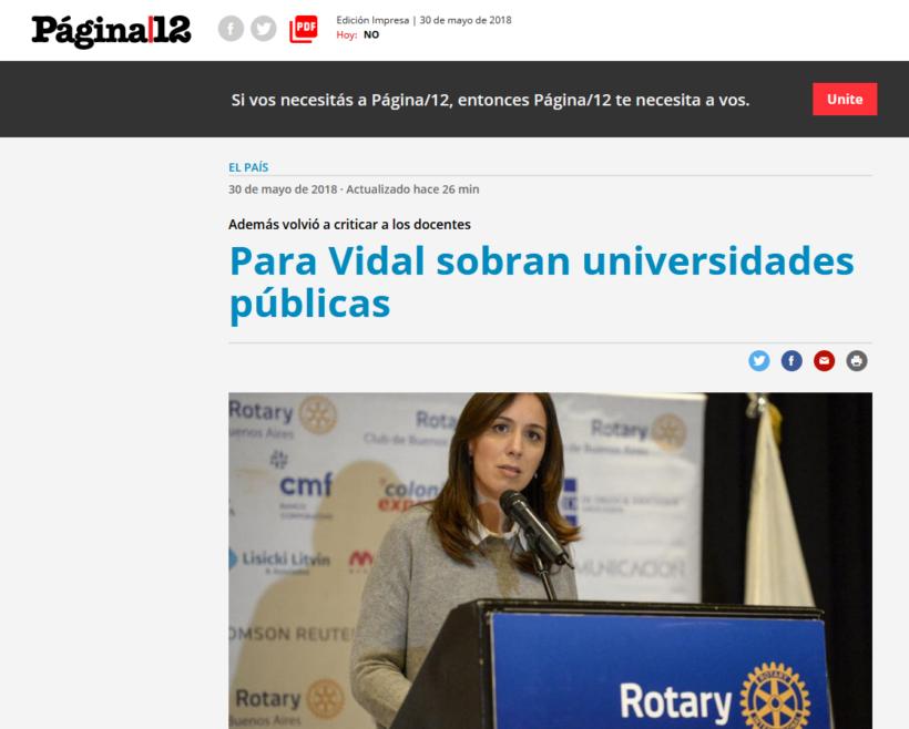 ABSOLUTO REPUDIO A LOS DICHOS DE LA GOBERNADORA VIDAL, QUE MUESTRAN DESPRECIO POR LA EDUCACIÓN PÚBLICA