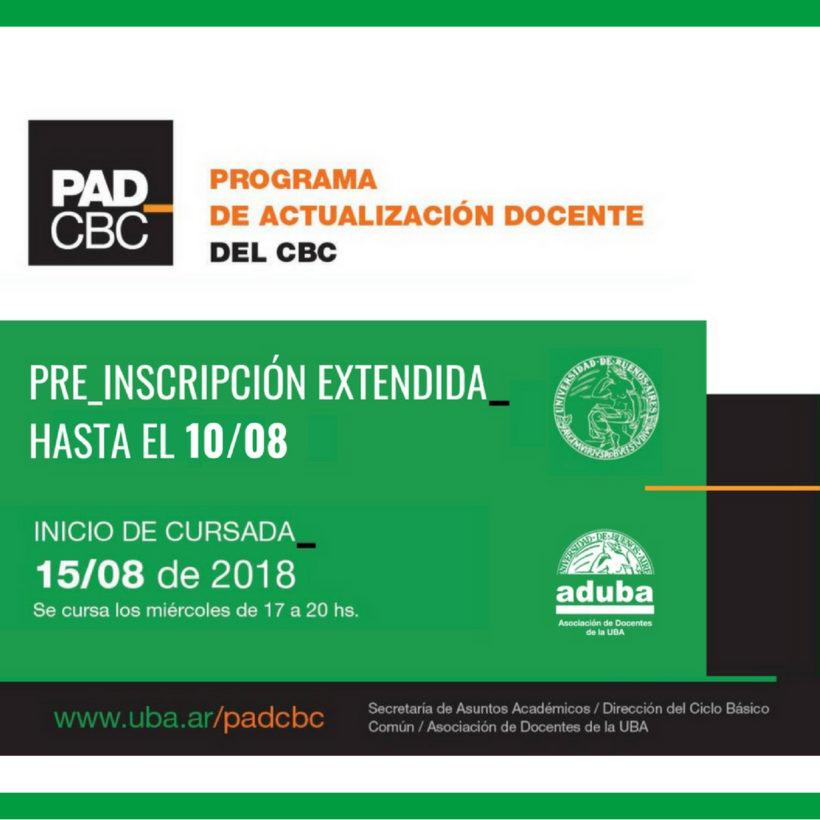 SE EXTENDIÓ LA PRE-INSCRIPCIÓN PARA EL PROGRAMA DE ACTUALIZACIÓN DOCENTE DEL CBC