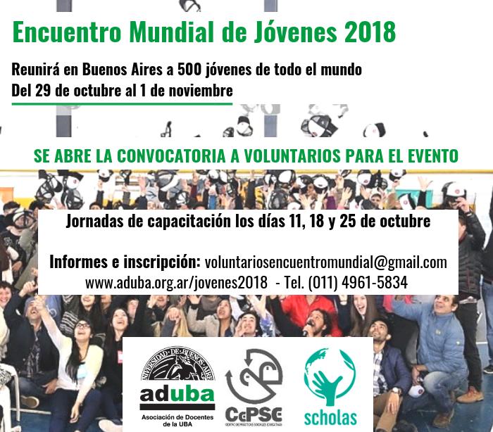 ENCUENTRO MUNDIAL DE JÓVENES: CONVOCATORIA A VOLUNTARIOS (OCTUBRE 2018)