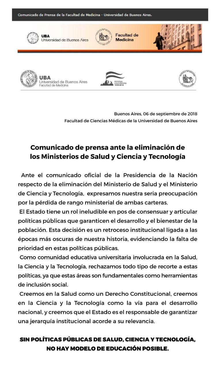 REPUDIO A LA ELIMINACIÓN DE LOS MINISTERIOS DE SALUD Y CIENCIA Y TECNOLOGÍA