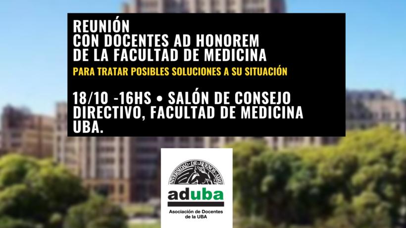 FMED: CONVOCATORIA A ASAMBLEA CON LOS DOCENTES AD HONOREM