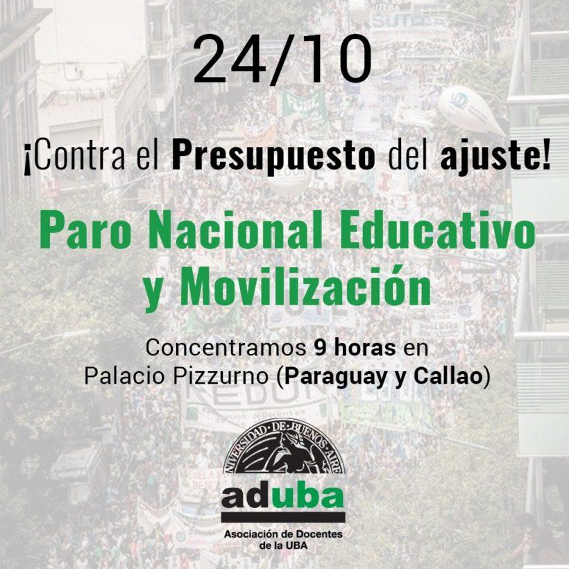 ¡No al Presupuesto del FMI! – Paro Nacional Educativo (24/10)