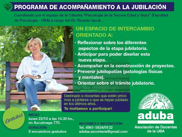 COMENZÓ EL PROGRAMA DE ACOMPAÑAMIENTO A LA JUBILACIÓN DE ADUBA