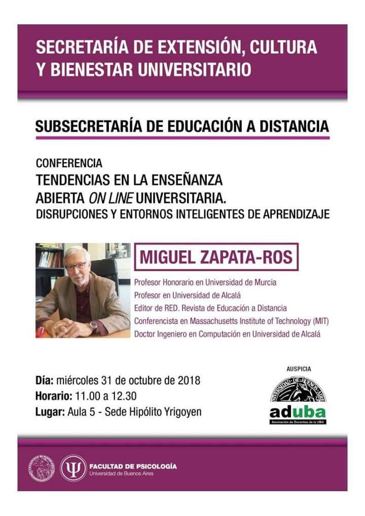MIGUEL ZAPATA-ROS CONFERENCIA: TENDENCIAS EN LA ENSEÑANZA ABIERTA ONLINE UNIVERSITARIA