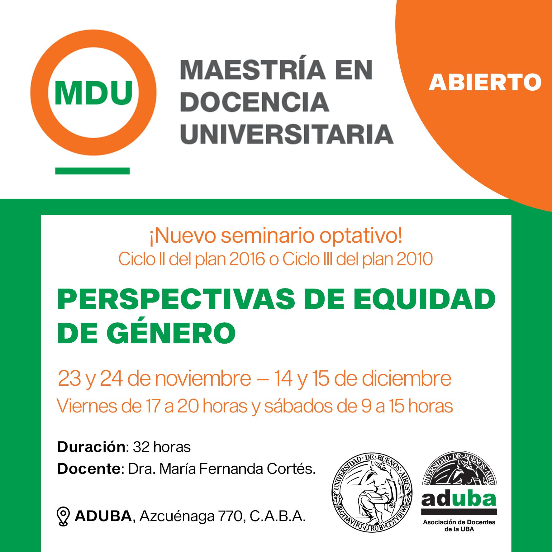INVITACIÓN: SEMINARIO ABIERTO: PERSPECTIVAS DE EQUIDAD DE GÉNERO