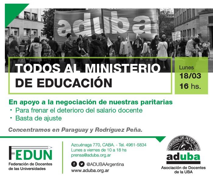 Lunes 18/03 - Movilización al Ministerio de Educación