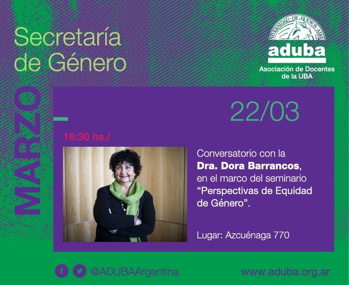 Actividad con Dora Barrancos el 22/03 en Azcuénaga 770. CABA