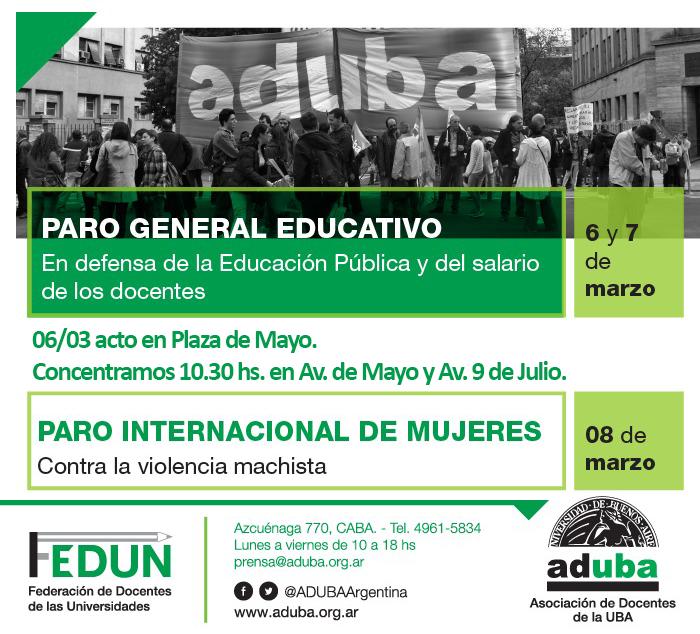 Paro General Educativo 6 y 7 de marzo, Paro Internacional de Mujeres 8 de marzo