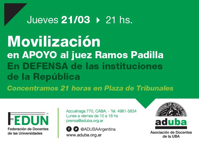Movilización en apoyo al juez Ramos Padilla 21/03 21 hs
