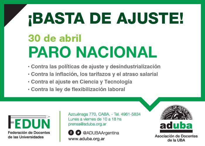 ¡Basta de ajuste! | 30 de abril, Paro Nacional