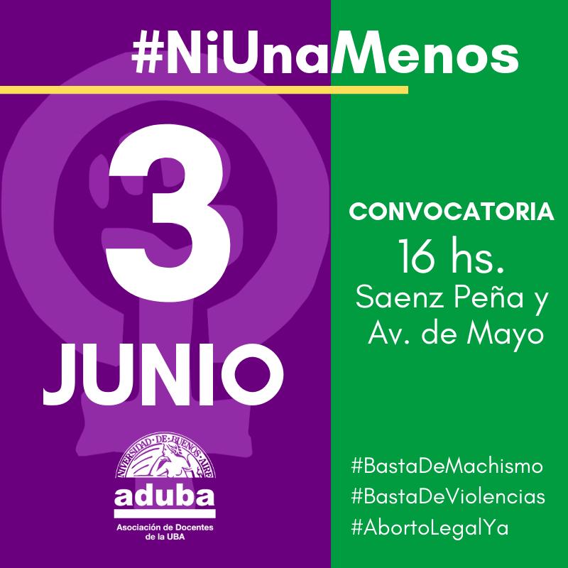 #NiUnaMenos: 3 de Junio a las 16 horas