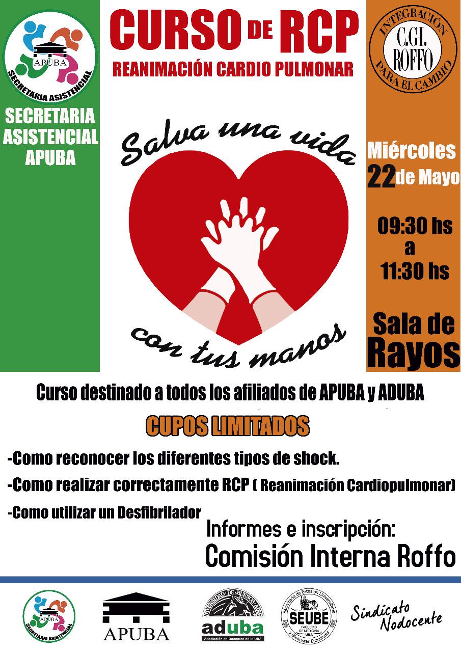 Curso de RCP (Reanimación Cardiopulmonar), Miercoles 22 de Mayo 9.30 hs a 11.30 hs