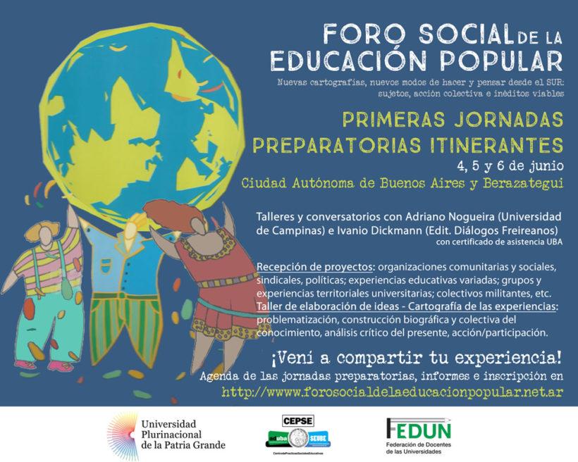 Invitación: Primeras Jornadas Itinerantes del Foro Social de la Educación Popular
