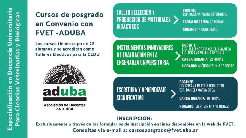 Cursos de posgrado en Convenio con FVET – UBA