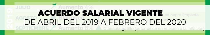 El acuerdo salarial vigente de abril del 2019 a febrero del 2020 firmado por la FEDUN
