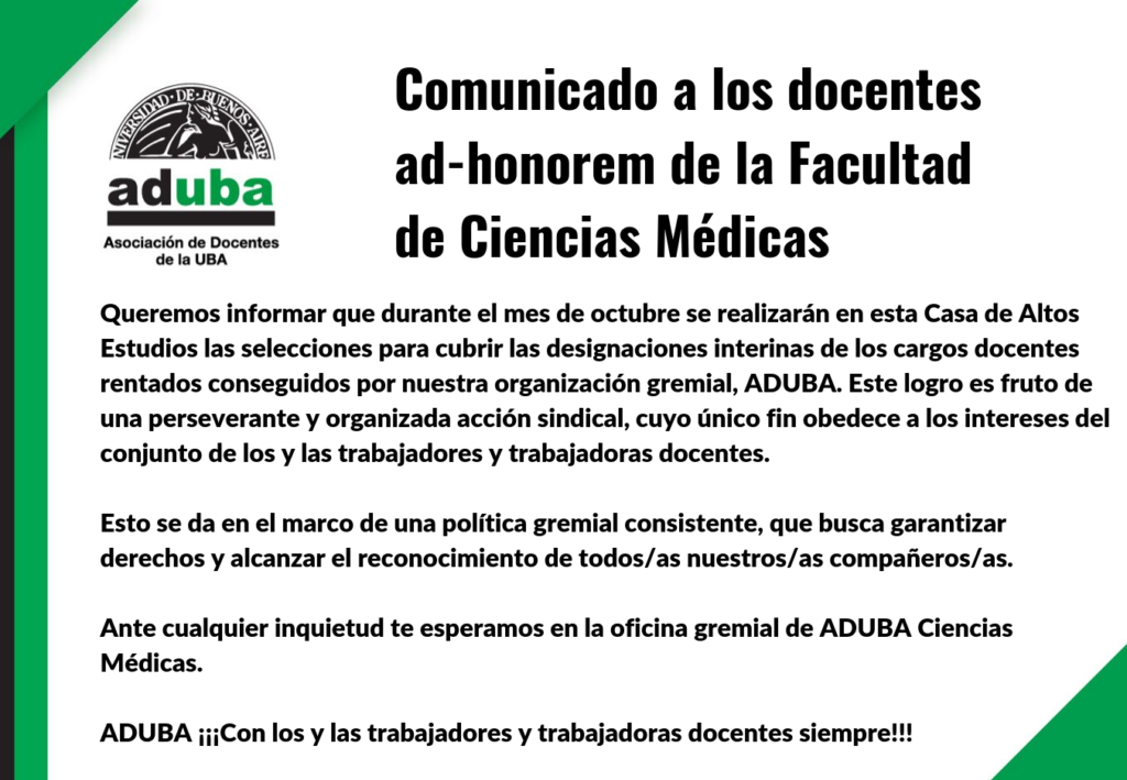 Comunicado a los docentes ad-honorem de la Facultad de Ciencias Médicas