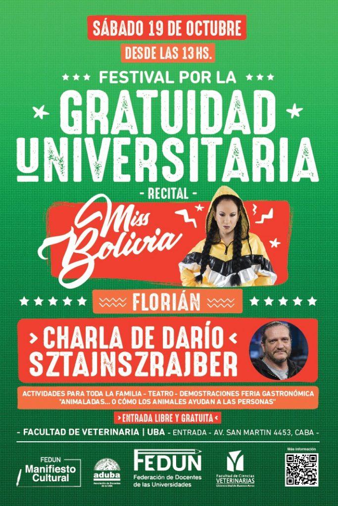 Festival por la Gratuidad Universitaria, con Miss Bolivia y Darío Sztajnszrajber