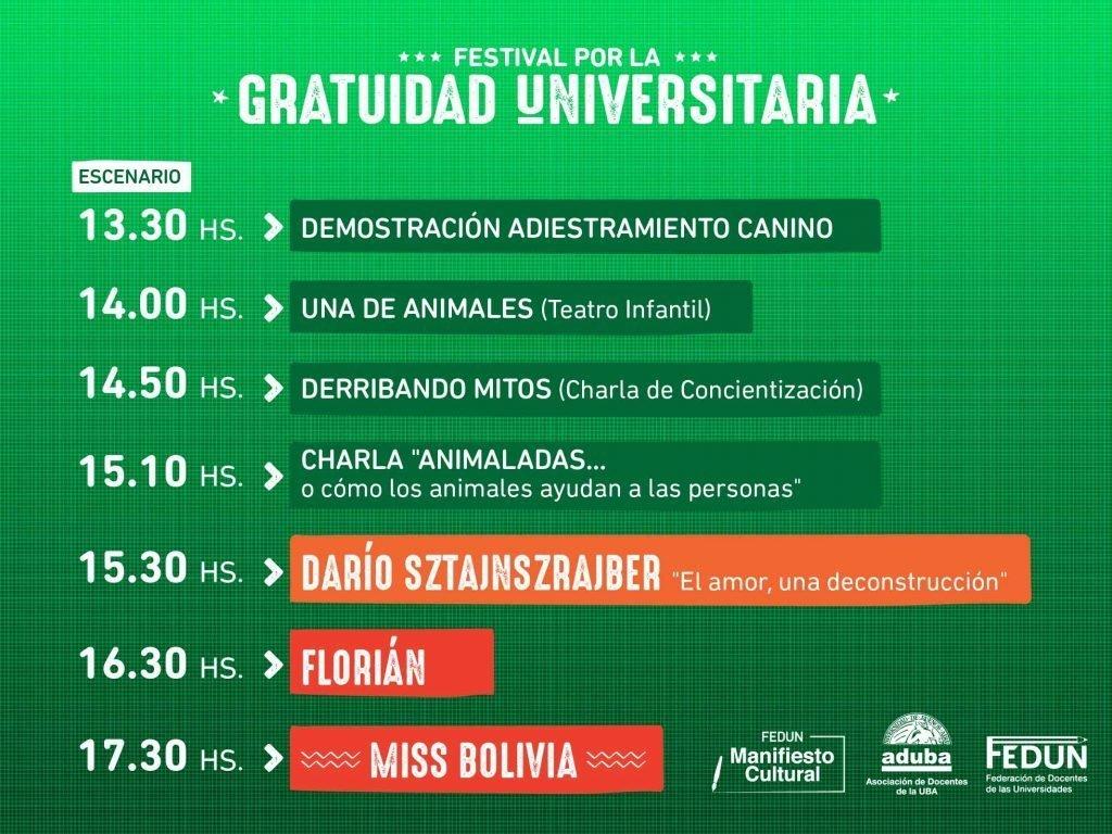 Festival por la Gratuidad Universitaria con Miss Bolivia y Darío Sztajnszrajber