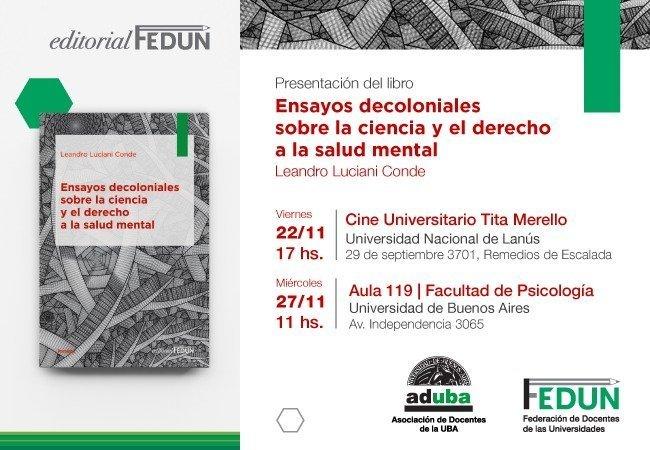 """Presentación del libro """"Ensayos decoloniales sobre la ciencia y el derecho a la salud mental"""""""