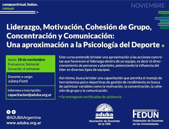 Liderazgo, Motivación, Cohesión de Grupo, Concentración y Comunicación: Una aproximación a la Psicología del Deporte.