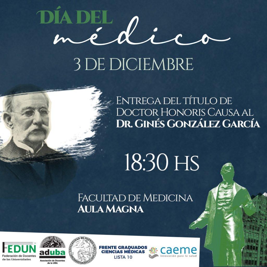 3/12: En el Día del Médico, la UBA entregará el Doctorado Honoris Causa a Ginés González García