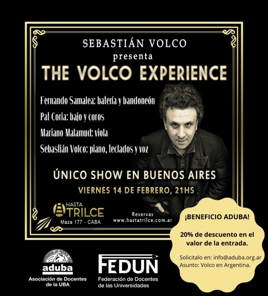 "Apoyo a la cultura: Sebastián Volco presenta ""The Volco Experience"" en Buenos Aires"