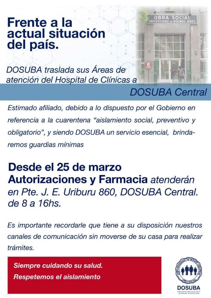 DOSUBA traslada sus áreas de atención del Hospital de Clínicas a Dosuba Central.