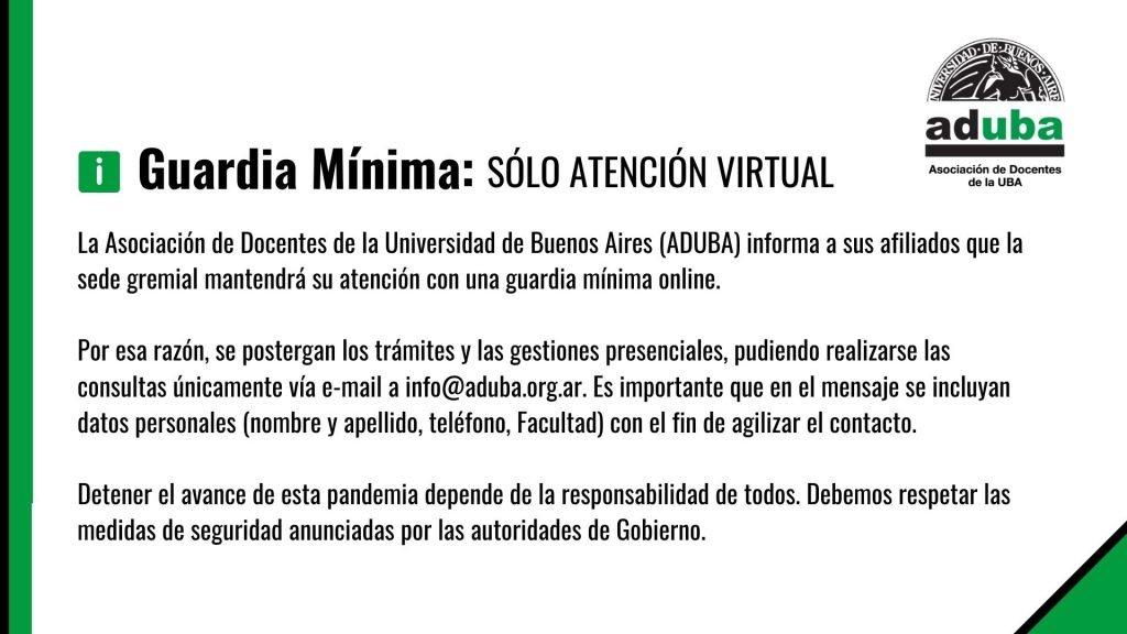 ADUBA atenderá de manera virtual durante la cuarentena
