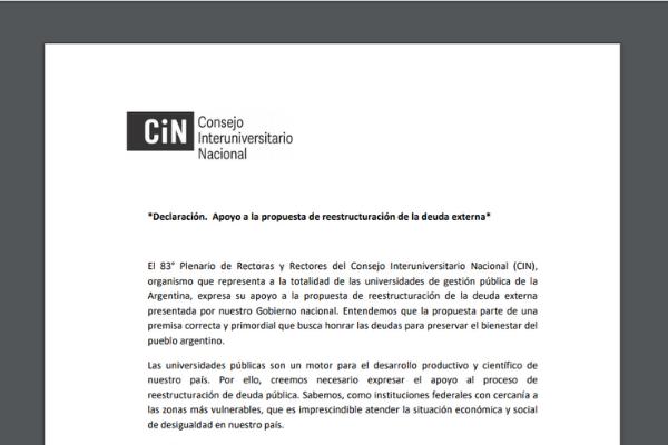 El CIN votó por unanimidad el apoyo a la negociación de la deuda