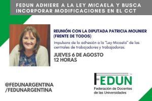 Reunión con Patricia Mounier para trabajar la adhesión de la FEDUN a la Ley Micaela