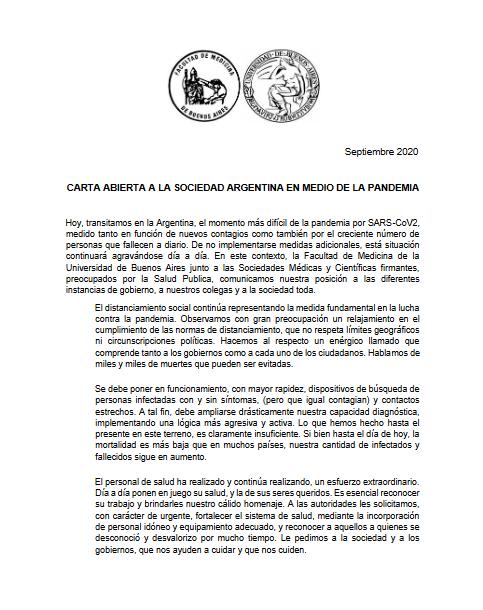 Los profesionales de la salud argentinos piden a la sociedad responsabilidad ante la pandemia